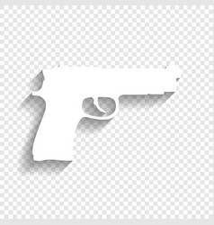 Gun sign white icon with vector