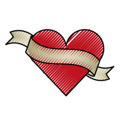 Heart love with ribbon romantic icon vector