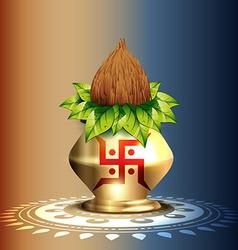 Hindu worship kalash vector