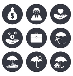 Insurance icons Life Real estate and House vector image vector image