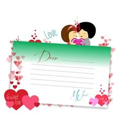 Letterhear for valentines green vector
