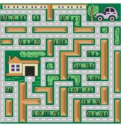 Maze car goes home vector