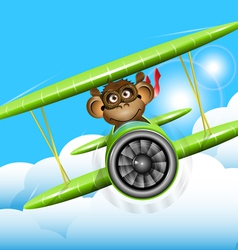 monkey on a plane vector image