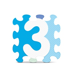 Number 3 written with alphabet puzzle vector