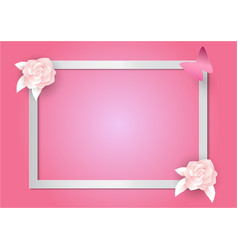 pink flowers and frame on pink background paper vector image vector image