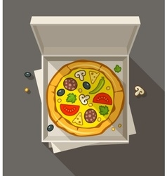 Pizza in open box vector image vector image