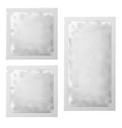 Realistic white blank sachet template packaging vector