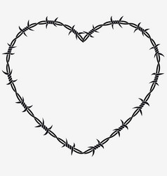 shape of heart silhouette of barbed wire vector image vector image