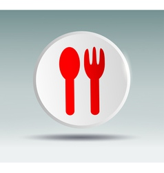 Spoon and fork in a white circle on a blue backgro vector