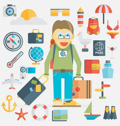 summer holiday flat icons vector image vector image