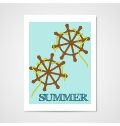 Summer poster with ship wheels vector