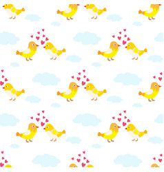 two lovely birds couple fall in love fly vector image