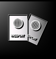 Two passports sign gray 3d vector