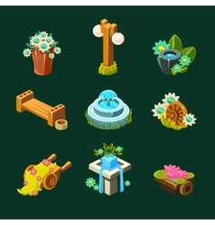 Video game garden decoration collection of vector