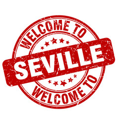 Welcome to seville red round vintage stamp vector