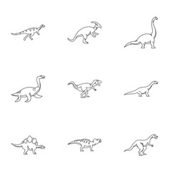 wild dinosaur icons set outline style vector image