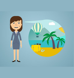 woman dreaming about his vacation vector image