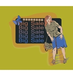 Woman on the background of the ad on a big sale vector image vector image