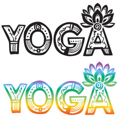 Word yoga with lotus flower vector