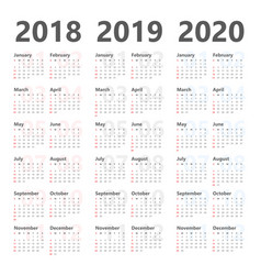 Yearly calendar for next 3 years 2018 to 2020 vector