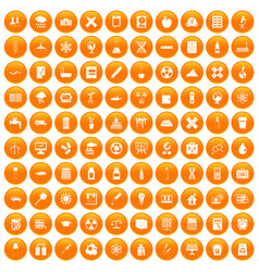 100 chemistry icons set orange vector