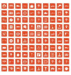 100 traffic icons set grunge orange vector