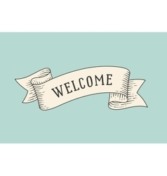 Greeting card with ribbon and word welcome vector
