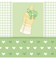 Greeting card with baby bottle-01 vector