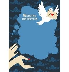 Wedding blue invitation vector image