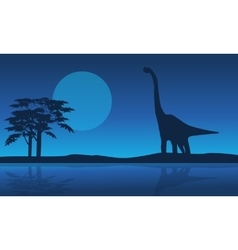 At night brachiosaurus scenery of silhouettes vector