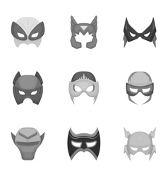 Superhero mask set icons in monochrome style big vector