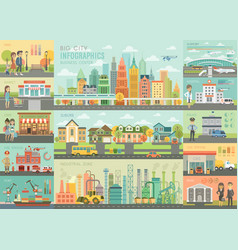 City life infographic set with charts and other vector