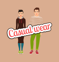 Beautiful couple in casual wear style vector