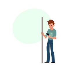 man student teenager in subway standing vector image