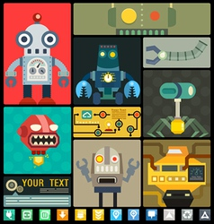 Set of cute flat robots set vector