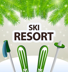Ski resort skiing and poles vector