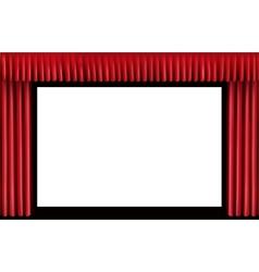 Red curtain blank cinema screen vector