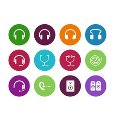 Headphones circle icons on white background vector
