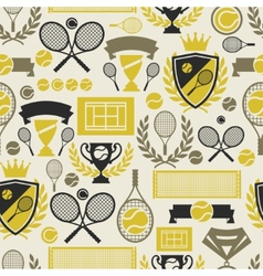 Sports seamless pattern with tennis icons in flat vector