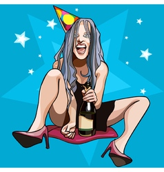 Funny cartoon girl with a bottle sitting vector