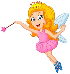 Cartoon fairy with magic wand vector