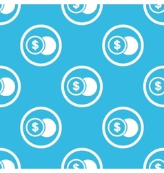 Dollar coin sign blue pattern vector