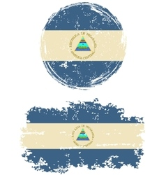 Nicaraguan round and square grunge flags vector