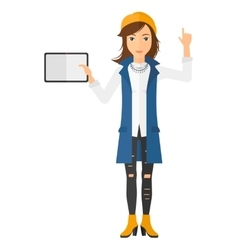 Woman holding tablet vector image