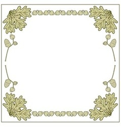 Frame made of acorns and oak leaves vector