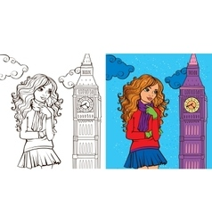 Colouring book of girl in london vector