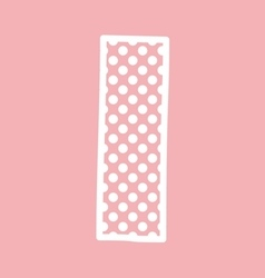 I alphabet letter with white polka dots on pink vector