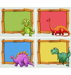 Wooden frame and many dinosaurs vector