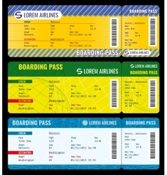 Airline boarding pass modern tickets mockup vector