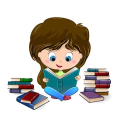 Girl reading a book vector